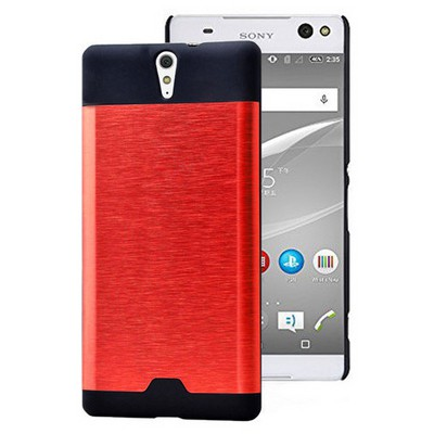 Microsonic Sony Xperia C5 Ultra Kılıf Hybrid Metal Kırmızı Cep Telefonu Kılıfı