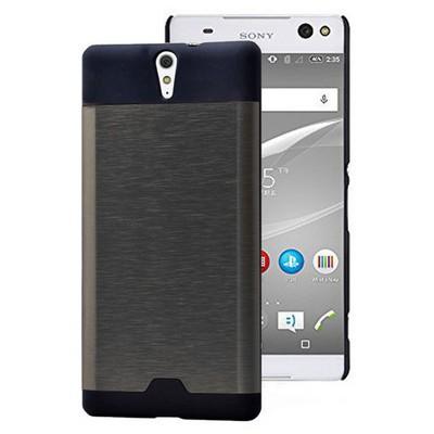 Microsonic Sony Xperia C5 Ultra Kılıf Hybrid Metal Siyah Cep Telefonu Kılıfı