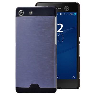 Microsonic Sony Xperia M5 Kılıf Hybrid Metal Mavi Cep Telefonu Kılıfı