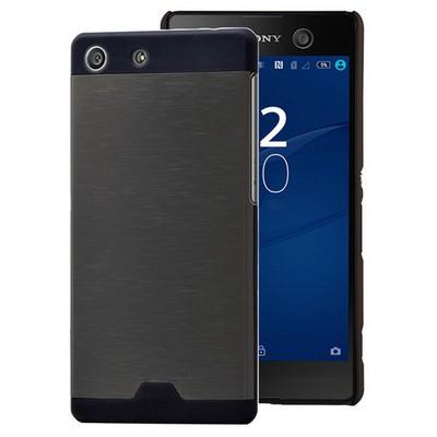 Microsonic Sony Xperia M5 Kılıf Hybrid Metal Siyah Cep Telefonu Kılıfı