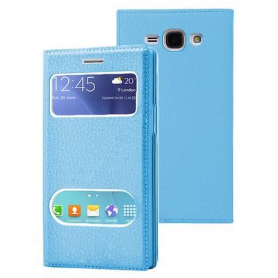 Microsonic Samsung Galaxy J1 Ace Kılıf Dual View Gizli Mıknatıslı Mavi Cep Telefonu Kılıfı