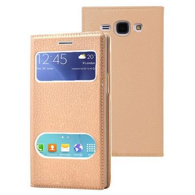 Microsonic Samsung Galaxy J1 Ace Kılıf Dual View Gizli Mıknatıslı Gold Cep Telefonu Kılıfı