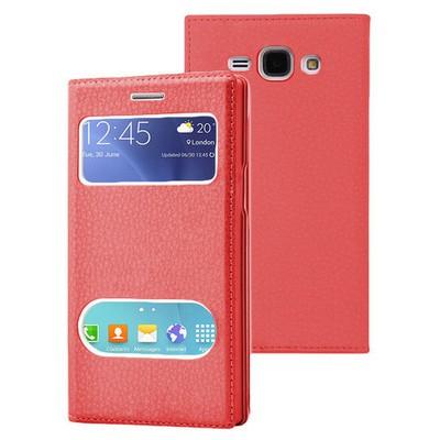Microsonic Samsung Galaxy J1 Ace Kılıf Dual View Gizli Mıknatıslı Kırmızı Cep Telefonu Kılıfı