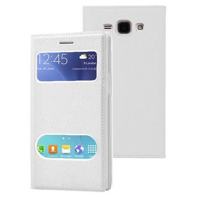 Microsonic Samsung Galaxy J1 Ace Kılıf Dual View Gizli Mıknatıslı Beyaz Cep Telefonu Kılıfı
