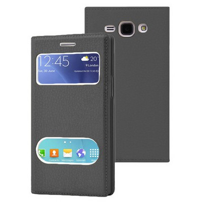 Microsonic Samsung Galaxy J1 Ace Kılıf Dual View Gizli Mıknatıslı Siyah Cep Telefonu Kılıfı