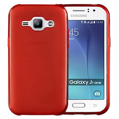 Microsonic Samsung Galaxy J1 Ace Kılıf Transparent Soft Kırmızı Cep Telefonu Kılıfı