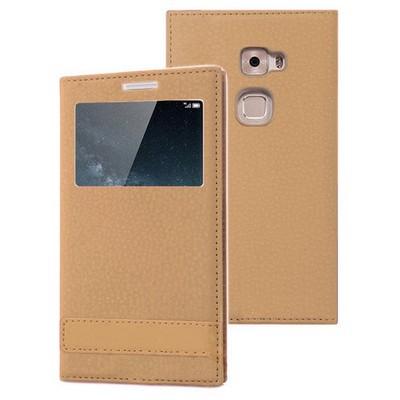 Microsonic Huawei Mate S Kılıf Gizli Mıknatıslı View Delux Gold Cep Telefonu Kılıfı