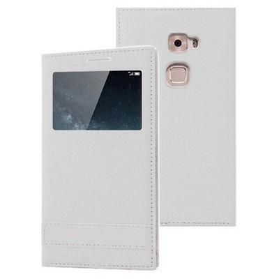 Microsonic Huawei Mate S Kılıf Gizli Mıknatıslı View Delux Beyaz Cep Telefonu Kılıfı