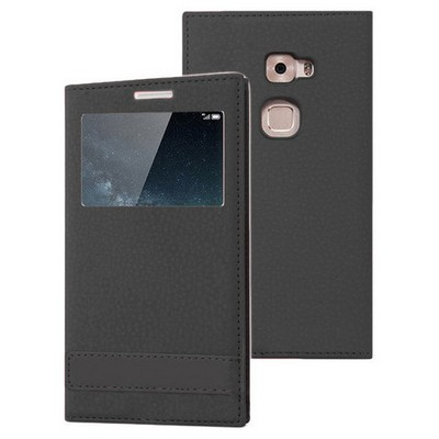 Microsonic Huawei Mate S Kılıf Gizli Mıknatıslı View Delux Siyah Cep Telefonu Kılıfı