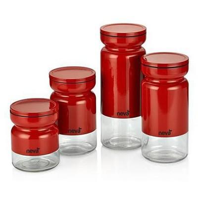 Neva N750 Sweet Kırmızı 4 Lü Kavanoz Seti Sofra Gereçleri