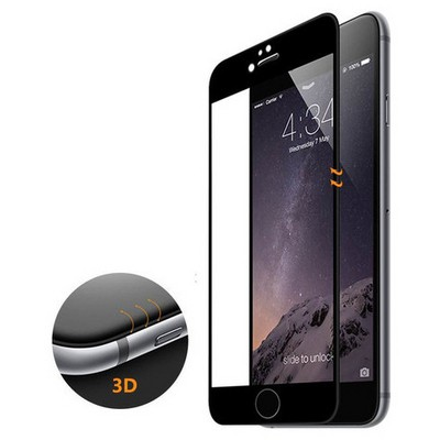 Microsonic Iphone 6s Plus 3d Kavisli Temperli Cam Full Ekran Koruyucu Kırılmaz Film Siyah Ekran Koruyucu Film