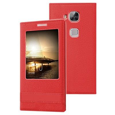 Microsonic Huawei Ascend G8 Kılıf Gizli Mıknatıslı View Delux Kırmızı Cep Telefonu Kılıfı