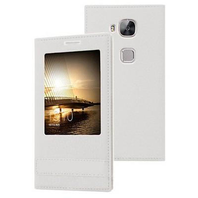 Microsonic Huawei Ascend G8 Kılıf Gizli Mıknatıslı View Delux Beyaz Cep Telefonu Kılıfı