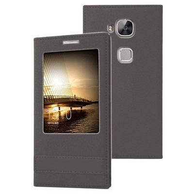 Microsonic Huawei Ascend G8 Kılıf Gizli Mıknatıslı View Delux Siyah Cep Telefonu Kılıfı