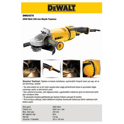 Dewalt Dwe4579 2600watt 230mm Profesyonel Büyük Taşlama