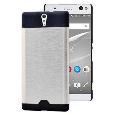 Microsonic Sony Xperia C5 Ultra Kılıf Round Hybrid Metal Gümüş Cep Telefonu Kılıfı