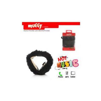 Codegen Mf-014 Telefon/tablet/mp3 Uyumlu Enseden Muffy Mikrofonlu Peluş Siyah Kulaklık Kafa Bantlı Kulaklık