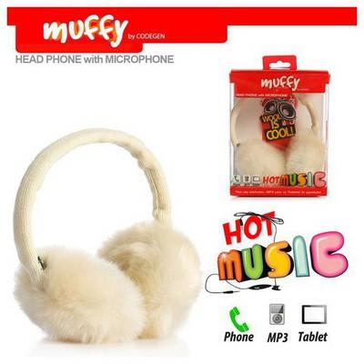 Codegen Mf-018 Telefon/tablet/mp3 Uyumlu Muffy Mikrofonlu Beyaz Peluş Kulaklık Kafa Bantlı Kulaklık