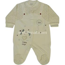 Babybal 445 Balonlu Ayı Patikli  Krem-gri 0-3 Ay (56-62 Cm) Bebek Tulumu