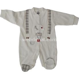Gaye 1112 Askılı Ayı Erkek  Krem 3-6 Ay (62-68 Cm) Bebek Tulumu