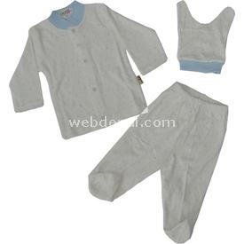 Sebi Bebe 52229 Yıldızlı Bebek Pijama Takımı Krem-mavi 0-3 Ay (56-62 Cm) Kız Bebek Pijaması