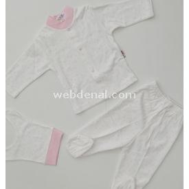 Sebi Bebe 52229 Yıldızlı Bebek Pijama Takımı Krem-pembe 0-3 Ay (56-62 Cm) Kız Bebek Pijaması
