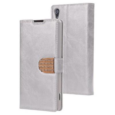 Microsonic Sony Xperia Z2 Kılıf Pearl Simli Taşlı Deri Gümüş Cep Telefonu Kılıfı