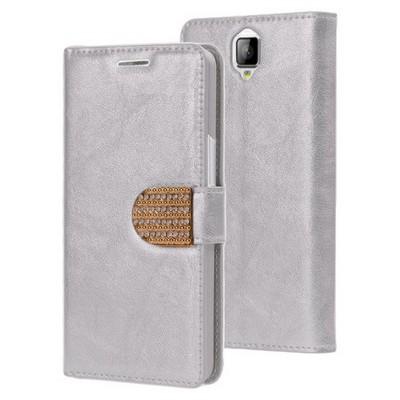 Microsonic General Mobile Discovery 2 Kılıf Pearl Simli Taşlı Deri Gümüş Cep Telefonu Kılıfı
