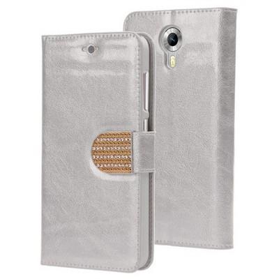 Microsonic General Mobile Android One 4g Kılıf Pearl Simli Taşlı Deri Gümüş Cep Telefonu Kılıfı