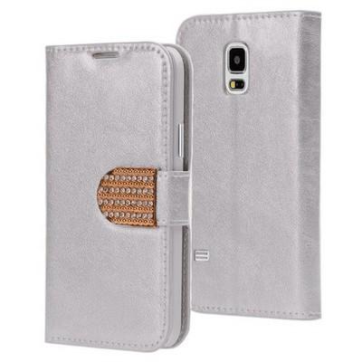 Microsonic Samsung Galaxy S5 Mini Kılıf Pearl Simli Taşlı Deri Gümüş Cep Telefonu Kılıfı