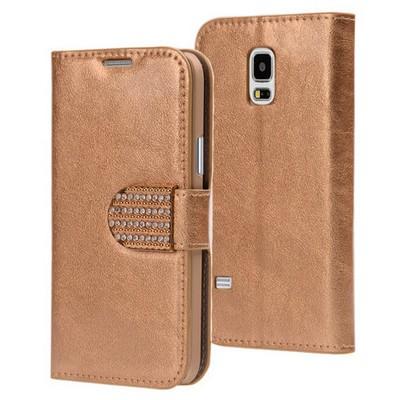 Microsonic Samsung Galaxy S5 Mini Kılıf Pearl Simli Taşlı Deri Gold Cep Telefonu Kılıfı