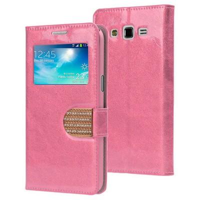 Microsonic Samsung Galaxy Grand 2 Kılıf Pearl Simli Taşlı Deri Pembe Cep Telefonu Kılıfı