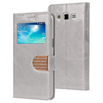 Microsonic Samsung Galaxy Grand 2 Kılıf Pearl Simli Taşlı Deri Gümüş Cep Telefonu Kılıfı