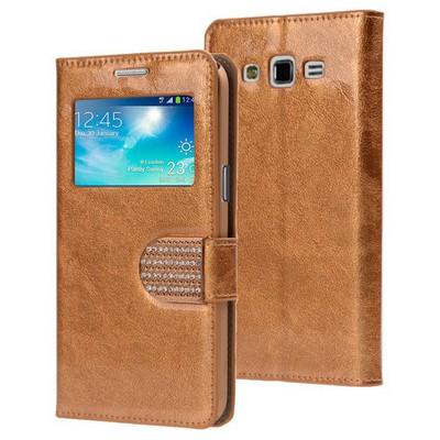 Microsonic Samsung Galaxy Grand 2 Kılıf Pearl Simli Taşlı Deri Gold Cep Telefonu Kılıfı