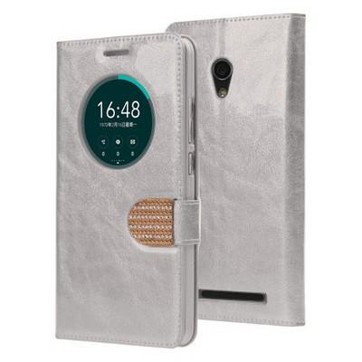 Microsonic Asus Zenfone 6 Kılıf Pearl Simli Taşlı Deri Gümüş Cep Telefonu Kılıfı
