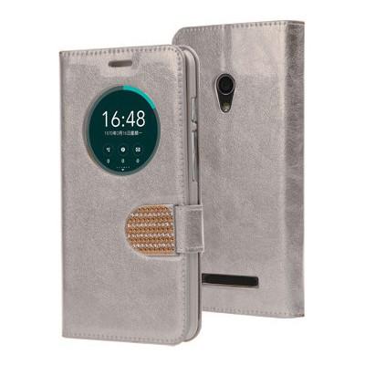 Microsonic Asus Zenfone 5 Kılıf Pearl Simli Taşlı Deri Gümüş Cep Telefonu Kılıfı
