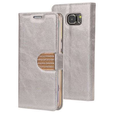Microsonic Pearl Simli Taşlı Deri Samsung Galaxy S6 Edge Kılıf Gümüş Cep Telefonu Kılıfı