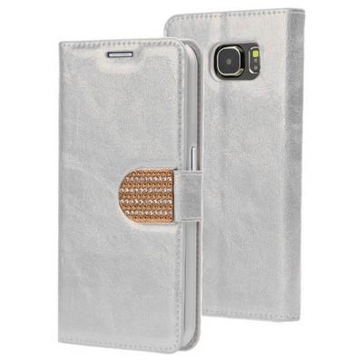 Microsonic Pearl Simli Taşlı Deri Samsung Galaxy S6 Kılıf Gümüş Cep Telefonu Kılıfı