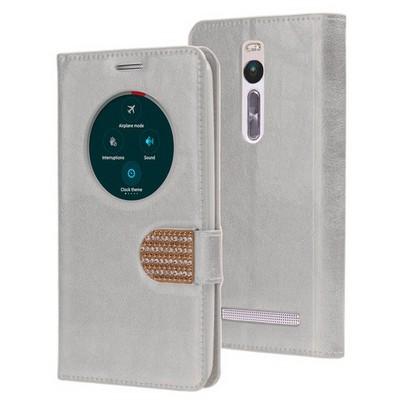 Microsonic Asus Zenfone 2 5.5 Inch Kılıf Pearl Simli Taşlı Deri Gümüş Cep Telefonu Kılıfı
