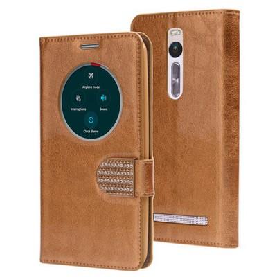 Microsonic Asus Zenfone 2 5.5 Inch Kılıf Pearl Simli Taşlı Deri Gold Cep Telefonu Kılıfı