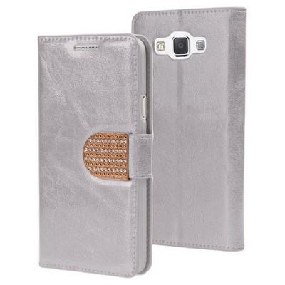 Microsonic Samsung Galaxy A3 Kılıf Pearl Simli Taşlı Deri Gümüş Cep Telefonu Kılıfı