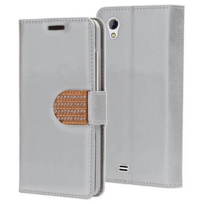 Microsonic General Mobile Discovery 2 Mini Kılıf Pearl Simli Taşlı Deri Gümüş Cep Telefonu Kılıfı