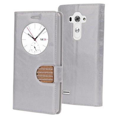 Microsonic Lg G3s (g3 Mini) Kılıf Pearl Simli Taşlı Deri Gümüş Cep Telefonu Kılıfı