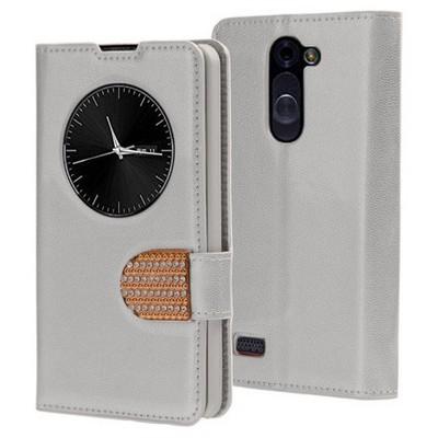 Microsonic Lg L Bello Kılıf Pearl Simli Taşlı Deri Gümüş Cep Telefonu Kılıfı