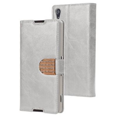 Microsonic Sony Xperia Z3 Plus (z4) Kılıf Pearl Simli Taşlı Deri Gümüş Cep Telefonu Kılıfı