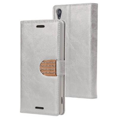 Microsonic Sony Xperia Z3 Kılıf Pearl Simli Taşlı Deri Gümüş Cep Telefonu Kılıfı