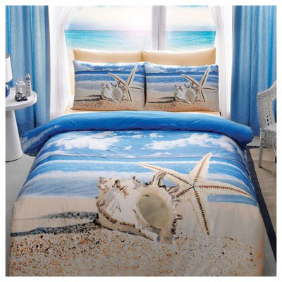 Taç Starfish Çift Kişilik 3d Saten Nevresim Takımı Ev Tekstili
