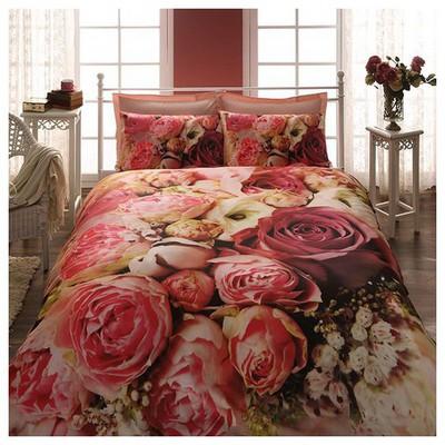 Taç Bouquet Çift Kişilik 3d Saten Nevresim Takımı Ev Tekstili