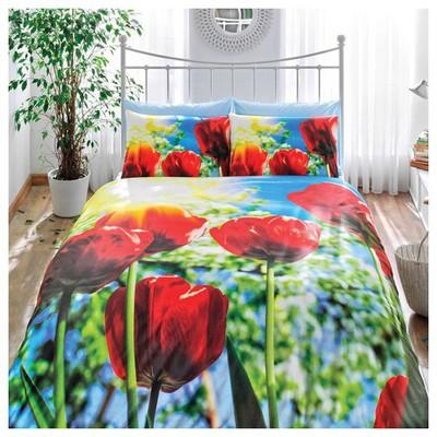 Taç Tulip Tek Kişilik 3d Saten Nevresim Takımı Ev Tekstili