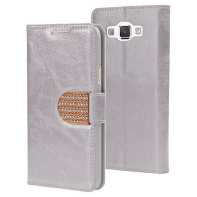 Microsonic Samsung Galaxy A8 Kılıf Pearl Simli Taşlı Deri Gümüş Cep Telefonu Kılıfı